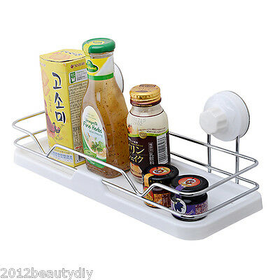 Home Organizer Kitchen Bathroom Vacuum Shelf Suction Holder Wall Mounte