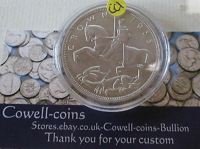 1935 GEORGE V ROCKING HORSE SILVER CROWN COIN with Capsule about unc Cc1
