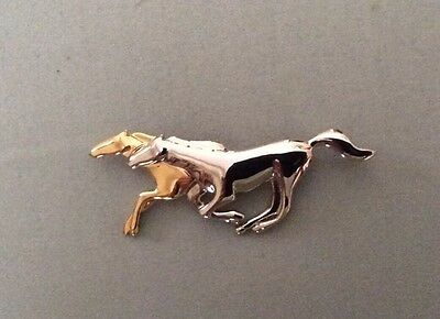 Galloping Horses Ladies Gold & Silver Tone Pin Brooch