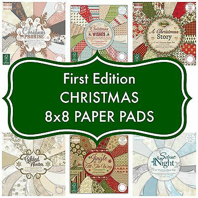 FIRST EDITION 8x8 PAPER - FESTIVE CHRISTMAS FULL PADS - 48 SHEETS - 200GSM