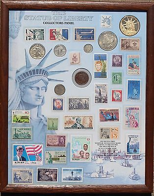 STATUE OF LIBERTY Stamps & Coins Collection Lot Morgan Silver Dollar Large Cent