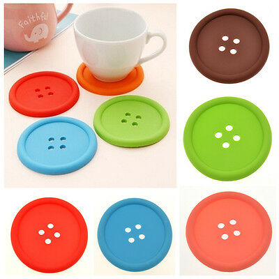 Silicone Coffee Placemat Button Coaster Cup Mug Glass Beverage Holder Pad Mat DD