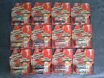 Johnny Lightning  60s SIZZLE Complete 12 Car Lot R1 & R2 MOC MIP Group