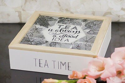 Rustic ShabbyChic Tea Box Storage  9 Compartments Wooden Glass Lid TEA TIME