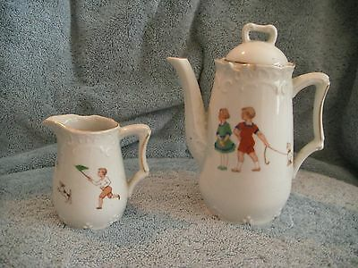 Antique Child's Porcelain Tea Pot & Creamer Set Made in Germany