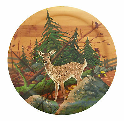 D.G. BENNETT - 'U.S. White Tailed Deer' - Painted Wood Plate - Late 20th Century