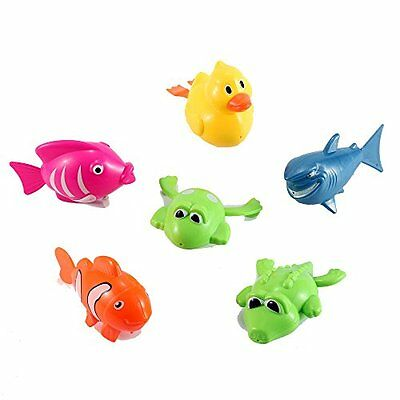 Set of 6 Wind Up Sea Animal Water Toys for Bath Includes Duck, Fish, Shark,
