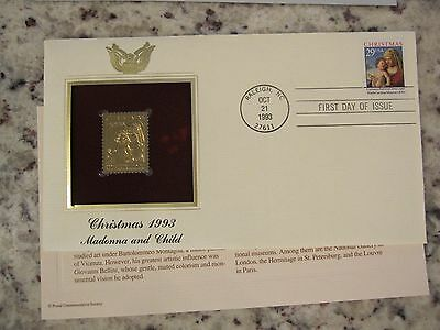 Christmas 1993 - Madonna and Child - 22KT Gold Replica FDC Cover Stamp
