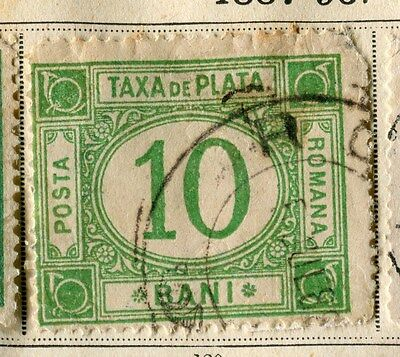 ROMANIA;  1887 early classic Postage Due fine used 10b. value