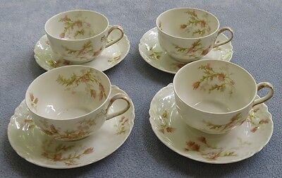 FOUR Sets Haviland Limoges Schleiger 41 Pink Daisy & Thistle Cups and Saucers