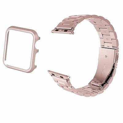 ROSE GOLD STEEL MESH Wristband Band Strap + Case For iWatch 42MM APPLE WATCH 1
