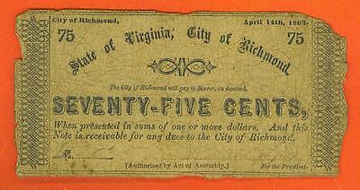 1863 75¢ State of VIRGINIA, City of RICHMOND Southern Currency