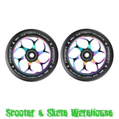 2 x ENVY FASEN 120mm Scooter Wheels With Bearings - NEOCHROME