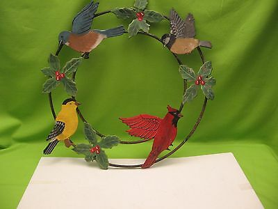 "Metal Wreath Of Birds & Holly - About 16"" - Some Places Bent - Good Cond."