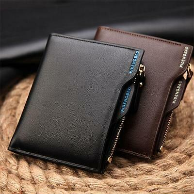 Bifold Genuine Leather Card holder Mens Coin slim Wallet Money Clip purse men