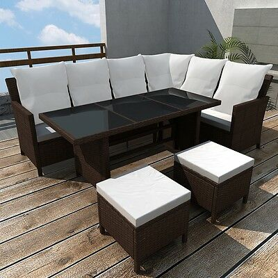 Brown Rattan Wicker Outdoor Lounge 8 Seater Set Sofa Couch Furniture Steel Frame