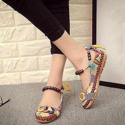 Women Ethnic Lace Up Beading Round Toe Flats Colorful Loafers Shoes Sweet