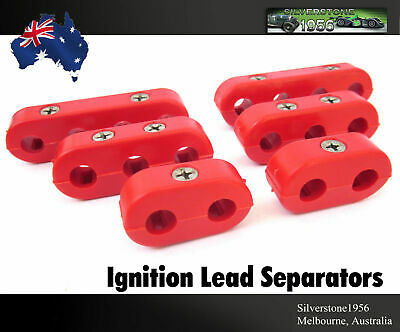 New Red Spark Plug Ignition Lead Wire Separators Holders HiTemp Set 6 Suit 7-9mm