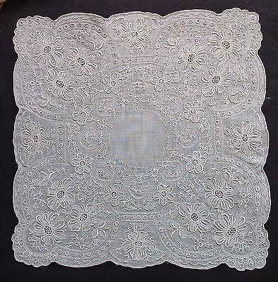 HANDMADE Vtg APPENZELL TYPE EMBROIDERY LACE Wedding Handkerchief Hankie  #5