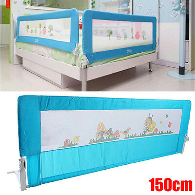 Child Toddler 150cm Safety Bed Rail Baby Bedrail Fold Cot Guard Protection Blue