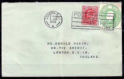 GB KGV 1/2d postal stationery cut out used on cover WS1043