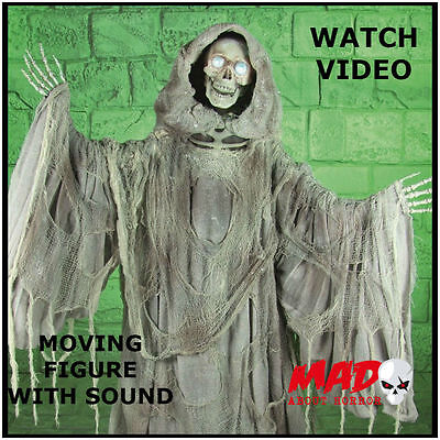 LIFE SIZE Animated Grim Reaper Halloween Skeleton Decoration Horror Prop Scary!