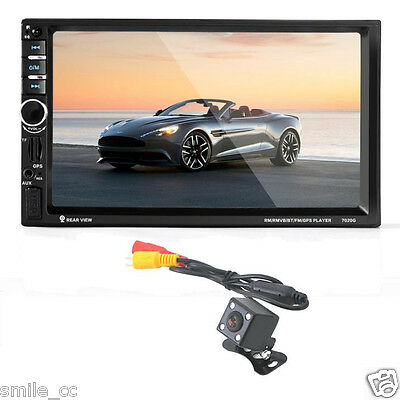 "7"" HD Bluetooth Touch Screen Car GPS Stereo Radio 2 DIN MP5/MP3/USB/AUX+ Camera"