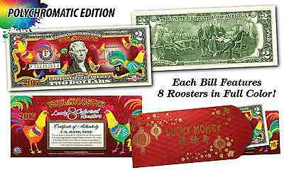 2017 CNY Lunar YEAR OF THE ROOSTER Polychromatic 8 COLOR Roosters US $2 Bill Red