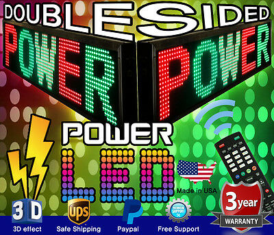 """3 COLOR DOUBLE-SIDED LED SIGN 15"""" x 41"""" RGY PROGRAMMABLE SCROLLING MESSAGE BOARD"""