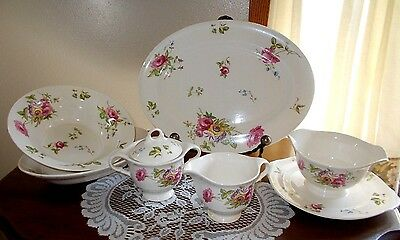 Authentic American Limoges China Canterbury ~ Multi Colored Floral 52 Pieces