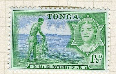 TONGA;  1953 early Queen Salote issue fine Mint hinged 1.5d. value