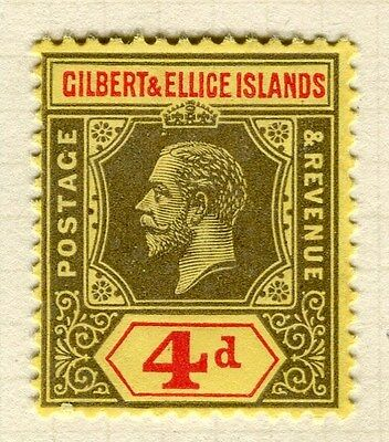 GILBERT ELLICE ISLANDS;  1912 early GV issue fine Mint hinged 4d. value