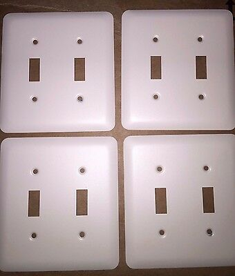 4 pcs off White Double Switchplate 2 gang Combo Rocker Outlet light cover