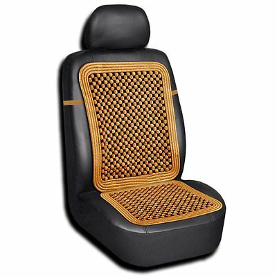 Zento Deals Tan Wood Auto Bead Vehicle Massage Seat Cushion Home Chair Car Cover