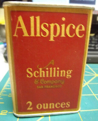 Vintage Schilling Spice Tin - Allspice - paper body and metal ends - 1933 AS&CO