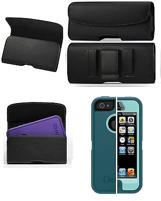 FOR Motorola Moto Z Play Droid BELT CLIP LEATHER HOLSTER FIT OTTERBOX CASE ON