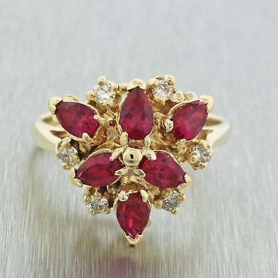 Vintage Estate 14k Solid Yellow Gold Ruby Diamond Cluster Cocktail Ring