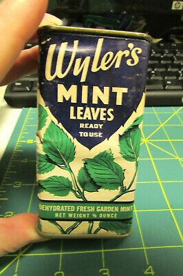 Wylers Spice tin cardboard body metal top and bottom - Wyler's Mint Leaves