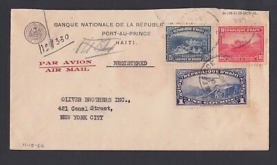 Haiti 1936 Registered Airmail Cover Port Au Prince To New York
