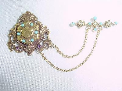 Victorian Chatelaine Gold Filled Chains Turquoise  Amethyst Seed Pearls  #1616