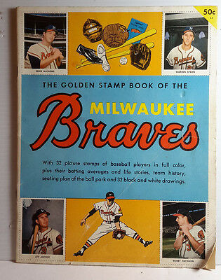 1955 Golden Stamp Book of MILWAUKEE BRAVES- Aaron Rookie- FREE S&H (C6520)