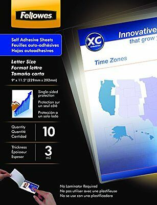Fellowes Laminating Sheets, Self Adhesive, Letter Size, 3 Mil, 10 Pack 5221501