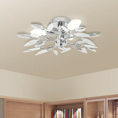 New Ceiling Lamp Acrylic Modern Light Crystal Pendant Leaf Arm Chandelier White