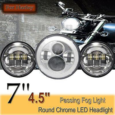 "7"" LED  Headlight Lamp +  4.5"" Passing Lights For Harley Davidson Jeep Wrangler"