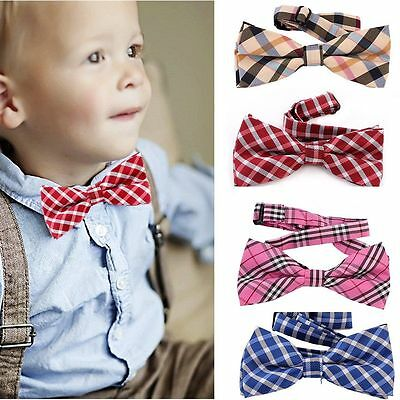 Kids Baby Boy Girls Plaid Bowtie Wedding Tuxedo Prom Bow Tie Neckwear Necktie