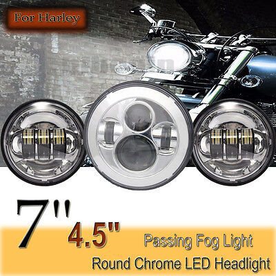 "DOT Chrome 7'' LED CREE Projector Daymaker Headlight + 2x 4.5"" Passing Fog Light"
