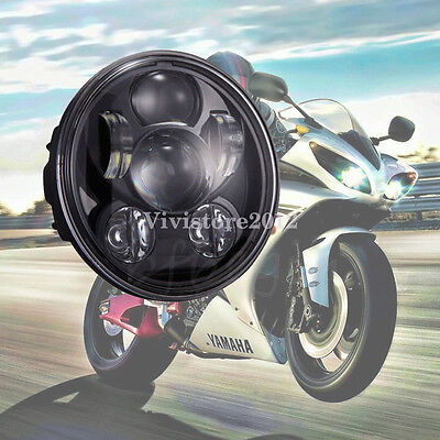 Black Motorcycle 5-3/4'' H/L Beam Daymaker Projector 9LED Headlight For Harley