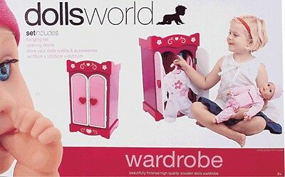 NEW Dolls World Wooden Wardrobe from Mr Toys