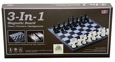 NEW 3 In 1 Chess Checkers Backgammon Magnetic from Mr Toys