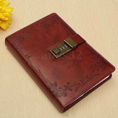 B6 Vintage Leather Red Rose Wired Journal Diary Note Book With Combination Lock